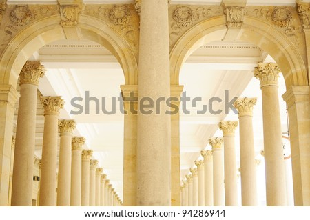 Row of ancient Gothic pillars