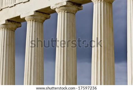 Row of ancient Greek pillars of doric rhythm - stock photo