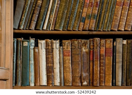 Row of Antique Books in Library