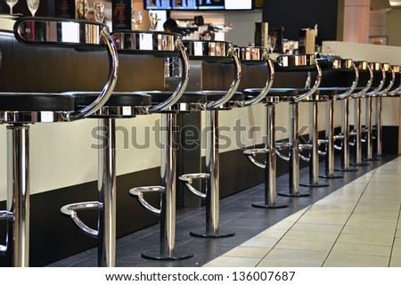 Row of bar chairs