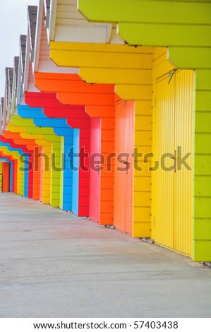 Row of beach huts on seaside resort of Scarborough - stock photo