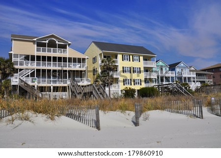 Row of beach rentals - stock photo