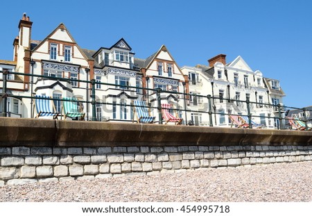 Row of beautiful buildings on a Sidmouth esplanade - stock photo