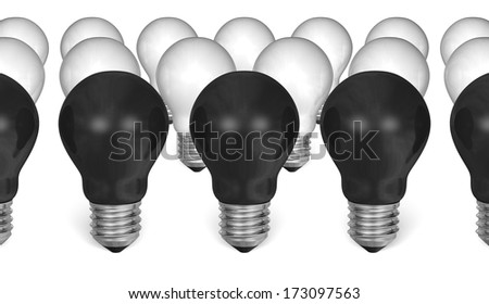 Row of black light bulbs in front of white ones isolated on white background