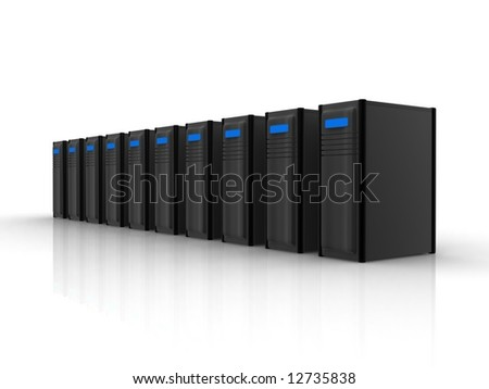 row of black servers