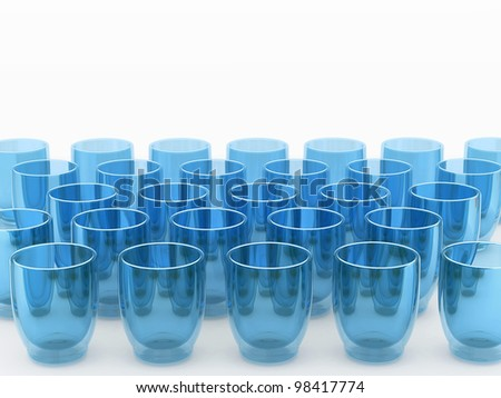 Row of blue glasses on white background