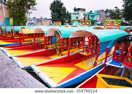 Row of boats in Xochimilco, Mexico city. Latin America. - stock photo