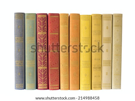 row of books,multicolored, isolated on white background, free copy space