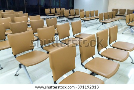 Row of Brown Leather Chair in The Big Luxury Meeting Room