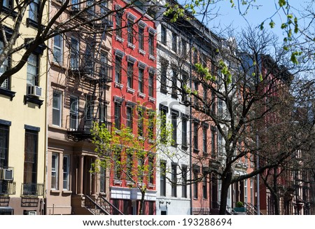 Row of buildings on a block near Tompkins Square Park in New York City - stock photo