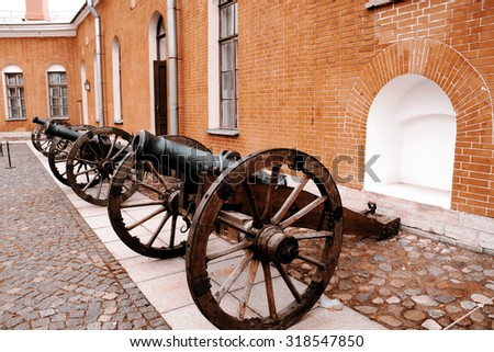 Row of cannons - St.Petersburg, Russia - stock photo