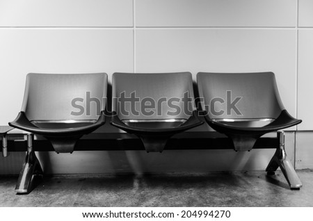 row of chair at underground in Hongkong - stock photo