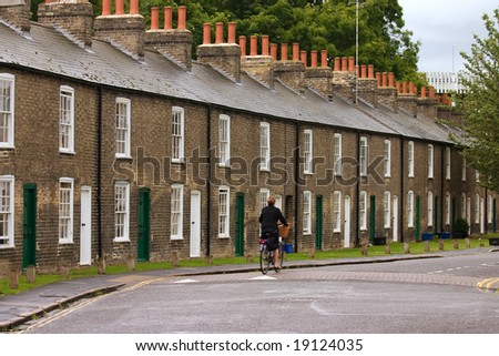 Row of characteristic English houses (Cambridge, UK) - stock photo