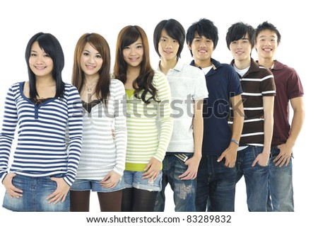 Row of Cheerful group of young people. - stock photo