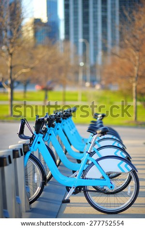 Row of city bikes for rent in Chicago, USA  - stock photo