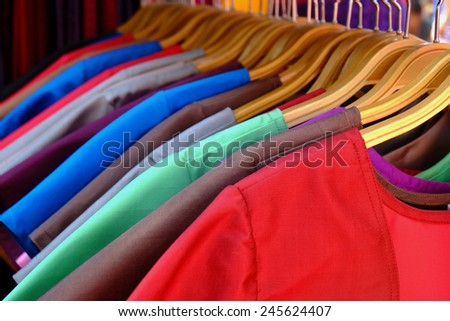 row of clothes hanging