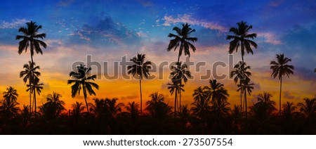 Row of coconut palms, sharply silhouetted against the bold orange, pink, lavender and blue colors of a tropical sunset in Thailand. Trees on sky background - stock photo
