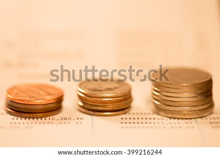 Row of coins  (Business concept) - stock photo