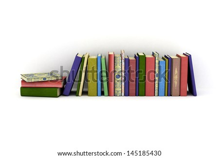 Row of color books isolated on white background