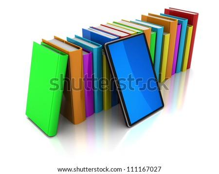 Row of color books with mobile phone on a white background