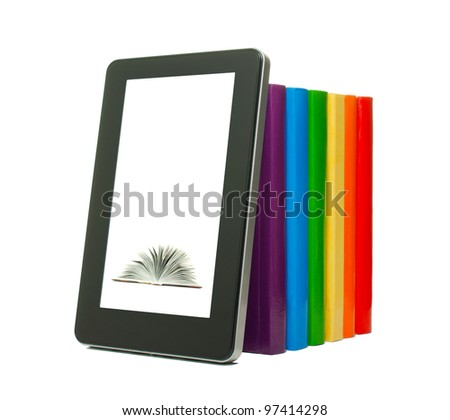 Row of colorful books and tablet PC over white background - stock photo