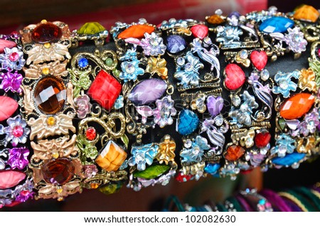 Row of colorful bracelets on jewelry market in Jerusalem, Israel