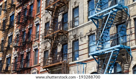 Row of colorful buildings near Tompkins Square Park in Manhattan, New York City USA - stock photo