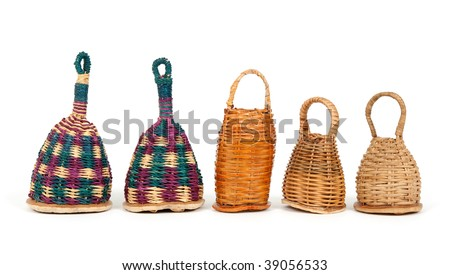 Row of colorful caxixi shakers, traditional Afro-Brazilian musical instruments. - stock photo