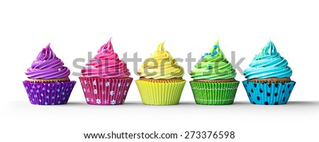Row of colorful cupcakes isolated on a white background - stock photo