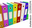 Row Of Colorful Files For Getting Office Organized - stock photo