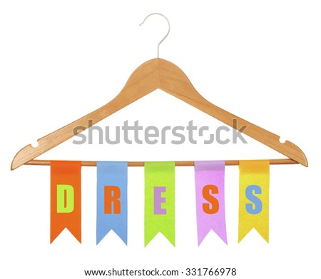 Row of colorful flags hanging on wooden hanger isolated on white - stock photo