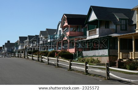 Row of colorful houses - stock photo
