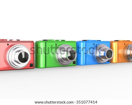 Row of colorful modern digital cameras