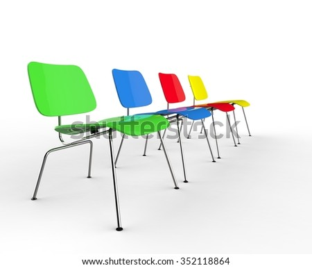 Row Of Colorful Modern Office Chairs - stock photo