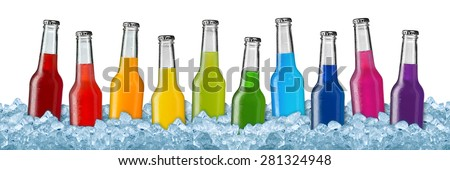 row of colorful soft drinks on ice - stock photo