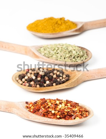 Row of colorful spices on rustic wooden spoons - stock photo