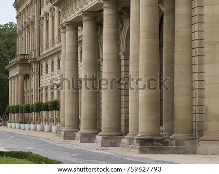 Row of Columns at Würzburg Residence, a Baroque palace, UNESCO World Heritage Site, Wuerzburg, Bavaria, Germany, Europe