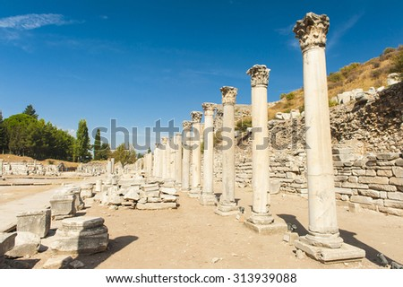 Row of Columns in the ruins of ancient Greek city of Ephesus - stock photo
