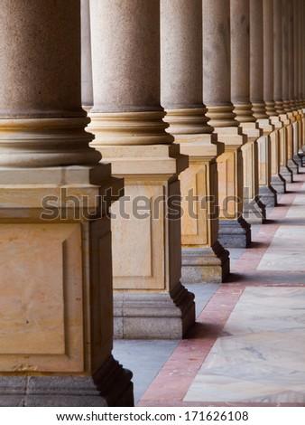 Row of columns (Karlovy Vary, Czech Republic) - stock photo