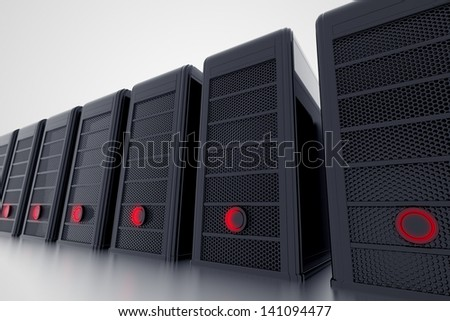 Row of computers or servers with red shiny button. Personal computer cases.