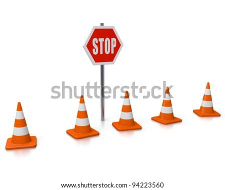 Row of cones and STOP sign - stock photo