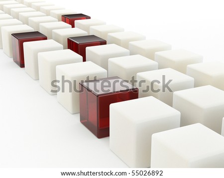 Row of cubes. 3d - stock photo