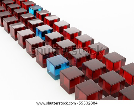 Row of cubes. 3d