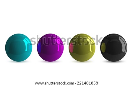 Row of cyan, magenta, yellow and black shiny balls isolated on white - stock photo