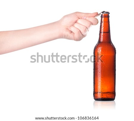 row of dark beer Bottles isolated on a white background - stock photo