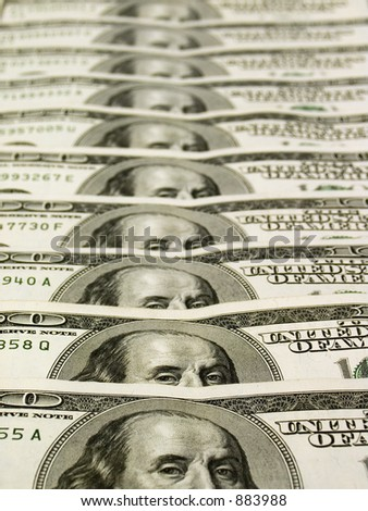 Row of dollars banknotes