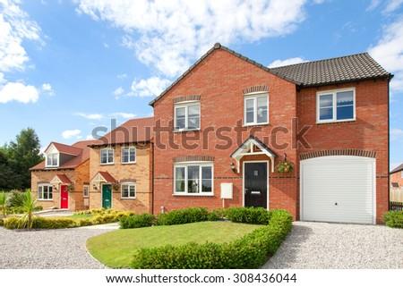 Row of elegant new houses - stock photo