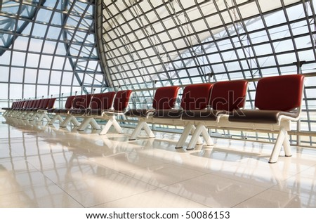 Row of empty chairs at  Suvarnabhumi airport, Bangkok
