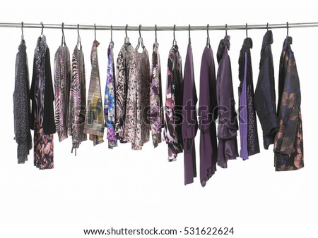 Row of female colorful clothing ,sundress on display