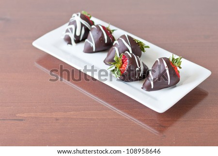 Row of five chocolate covered strawberries focus on the one facing the other way with a shallow depth of field